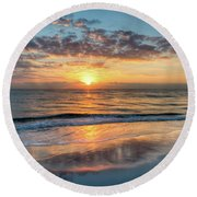 Round Beach Towel featuring the photograph Mirror At Sunrise by Debra and Dave Vanderlaan