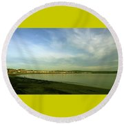 Round Beach Towel featuring the photograph Mirror Calm by Anne Kotan