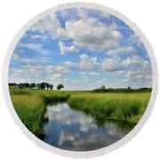 Mirror Image Of Clouds In Glacial Park Wetland Round Beach Towel