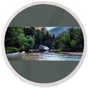 Round Beach Towel featuring the photograph Mirror Lake- by JD Mims