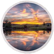 Round Beach Towel featuring the photograph Mirror Lake Sunset by Fiskr Larsen