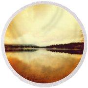 Mirror Lake At Sunset Round Beach Towel