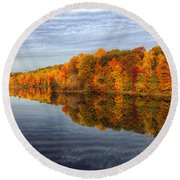 Mirror Mirror On The Fall Round Beach Towel