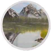 Mirror Mountain Round Beach Towel