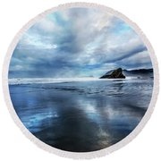 Round Beach Towel featuring the photograph Mirror Of Light by Debra and Dave Vanderlaan
