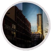 Mirror Reflection Of Peachtree Plaza Round Beach Towel