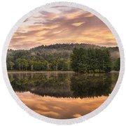 Bass Lake Sunrise - Moses Cone Blue Ridge Parkway Round Beach Towel