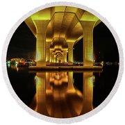 Mirrored Bridge Reflection Round Beach Towel by Tom Claud