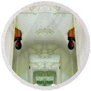 Mirrored Mirror Round Beach Towel by Lyle Crump