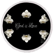 Mirrored Orchids Framing God Is Love Round Beach Towel by Rose Santuci-Sofranko