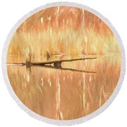 Round Beach Towel featuring the photograph Mirrored Reflection by Laurinda Bowling