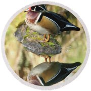 Mirrored Wood Duck Round Beach Towel
