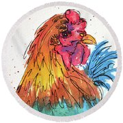 Miss Broody Round Beach Towel