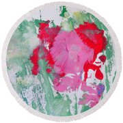 Round Beach Towel featuring the painting Miss Emma's Flowers by Fred Wilson