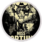 Miss Fortune - Vintage Comic Line Art Style Round Beach Towel