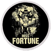 Miss Fortune - Vintage Comic Line Art Style Round Beach Towel