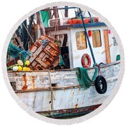 Miss Hale Shrimp Boat - Side Round Beach Towel