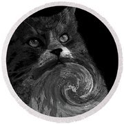 Miss Kitty Portrait Pop Art Bw Round Beach Towel