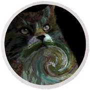 Miss Kitty Portrait Pop Art Soft Round Beach Towel