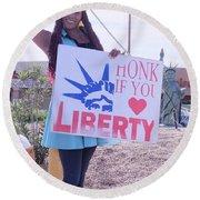 Miss Liberty Round Beach Towel