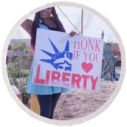 Miss Liberty Round Beach Towel