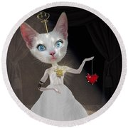 Miss Kitty Round Beach Towel by Juli Scalzi