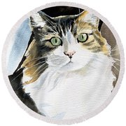 Miss Lucy - Cat Portrait Round Beach Towel