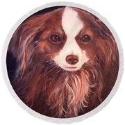 Round Beach Towel featuring the painting Miss Pippin by Alan Lakin