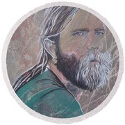 Round Beach Towel featuring the painting Missing Brent by Stuart Engel