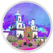 Mission Abstract 3 Round Beach Towel by M Diane Bonaparte
