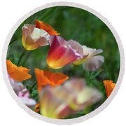 Mission Bell Poppies Round Beach Towel