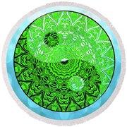 Round Beach Towel featuring the digital art Mission Piece 1a     I Call 2 U by Ginny Gaura