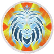 Round Beach Towel featuring the digital art Mission Piece 2b Lions Gate by Ginny Gaura
