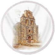 Round Beach Towel featuring the photograph Mission San Francisco De La Espada In Faux Pencil Drawing  by David and Carol Kelly