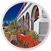 Mission San Luis Rey Garden Round Beach Towel by Karyn Robinson