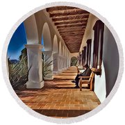 Mission San Luis Rey Round Beach Towel