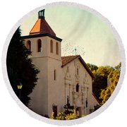 Round Beach Towel featuring the photograph Mission Santa Clara - California by Glenn McCarthy Art and Photography