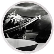 Round Beach Towel featuring the photograph Mission Space Black And White by Eduard Moldoveanu