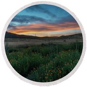 Mission Trails Poppy Sunset Round Beach Towel