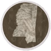 Mississippi Map Music Notes 3 Round Beach Towel