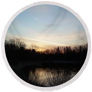 Round Beach Towel featuring the photograph Mississippi River Colorful Dawn Clouds by Kent Lorentzen