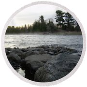 Mississippi River Dawn Over The Rocks Round Beach Towel by Kent Lorentzen