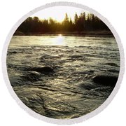 Round Beach Towel featuring the photograph Mississippi River Dawn Reflection by Kent Lorentzen