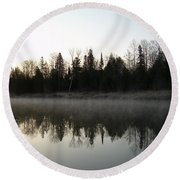 Mississippi River Fog Reflection Round Beach Towel by Kent Lorentzen