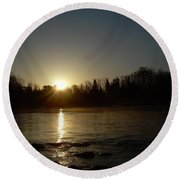 Mississippi River Golden Sunrise Round Beach Towel by Kent Lorentzen
