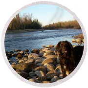 Round Beach Towel featuring the photograph Mississippi River Good Morning by Kent Lorentzen
