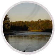 Mississippi River Morning Glow Round Beach Towel by Kent Lorentzen