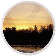 Round Beach Towel featuring the photograph Mississippi River Orange Sky by Kent Lorentzen