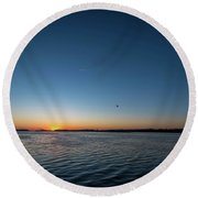 Mississippi River Sunrise Round Beach Towel