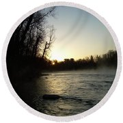Mississippi River Sunrise Shadow Round Beach Towel by Kent Lorentzen